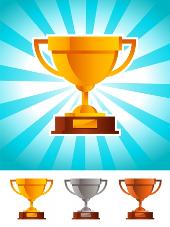 Gold silver and bronze shiny winner cup trophy Vector
