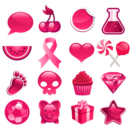 Various set of pink icons Vector