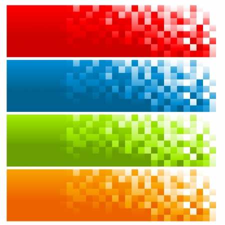 Set of Colorful Pixel Banners Vector