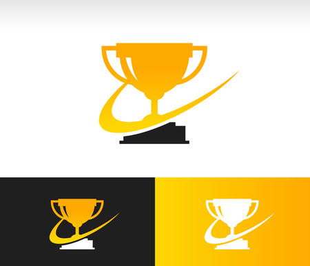 Gold trophy icon with swoosh graphic element Ilustrace