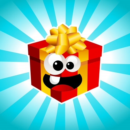 Illustration of fun smiling gift box