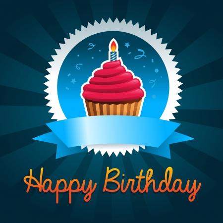 Kleurrijke verjaardagskaart met cupcake Stock Illustratie