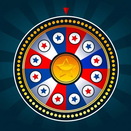 roue de fortune: Illustration de la roue de jeu avec des couleurs patriotiques
