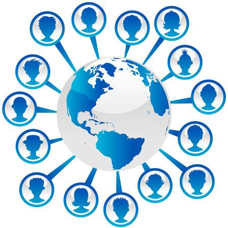 Blauwe planeet aarde illustratie met mensen avatars