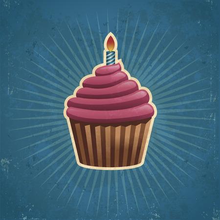 キャンドルのイラストがレトロな誕生日ケーキ