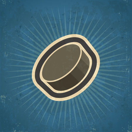 Retro grunge hockey puck illustration Vector