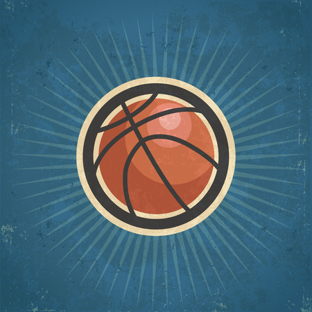 grunge: Retro grunge basketball illustration