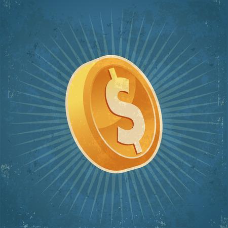 token: Retro grunge gold dollar coin illustration