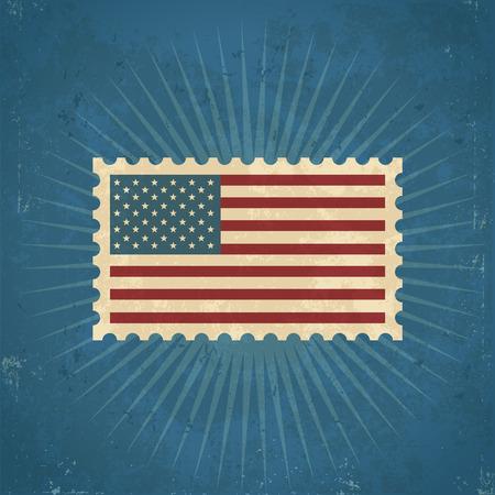 u.s. flag:  Retro United States postage stamp on grunge bursting background Illustration