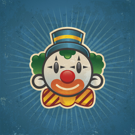 Retro grunge clown illustration on bursting background Vector