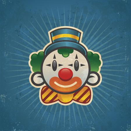 clown face: Retro grunge clown illustration on bursting background