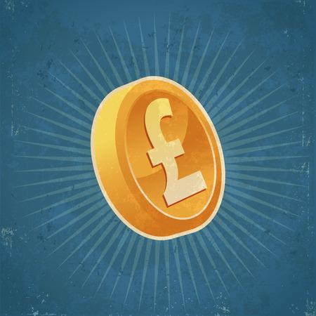 ポンド通貨の金貨のレトロなグランジ イラスト