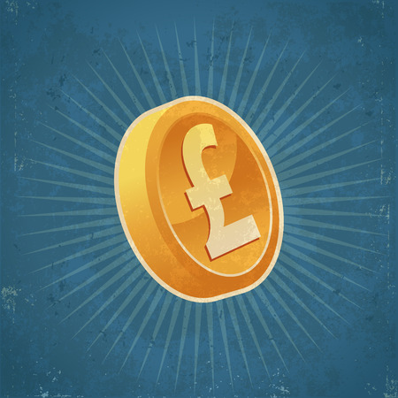 token: Retro grunge illustration of gold pound currency coin Illustration