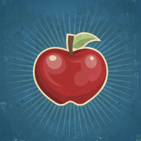 grunge: Retro grunge apple illustration