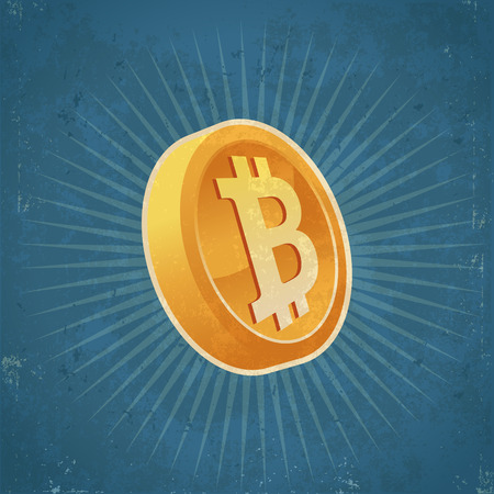 token: Retro grunge illustration of gold bitcoin currency coin