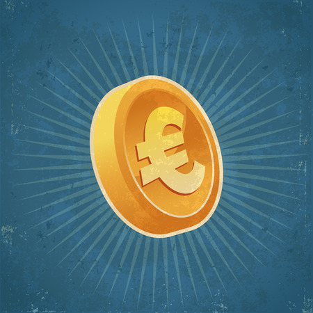 token: Retro grunge illustration of gold euro currency coin
