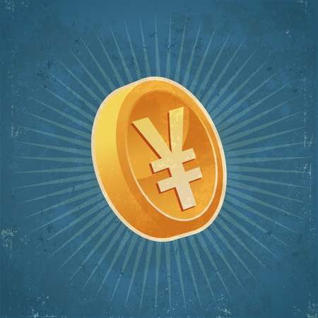 Retro grunge illustration of gold yen currency coin Иллюстрация