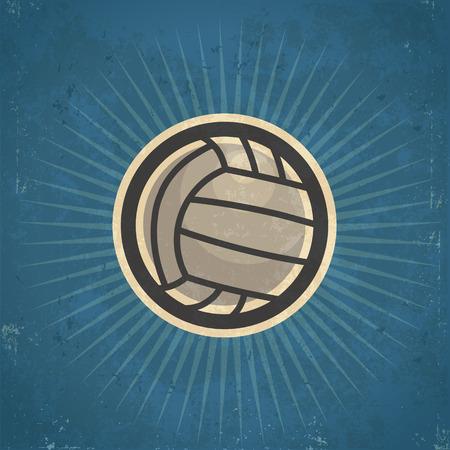 レトロ: レトロなグランジ バレーボール イラスト
