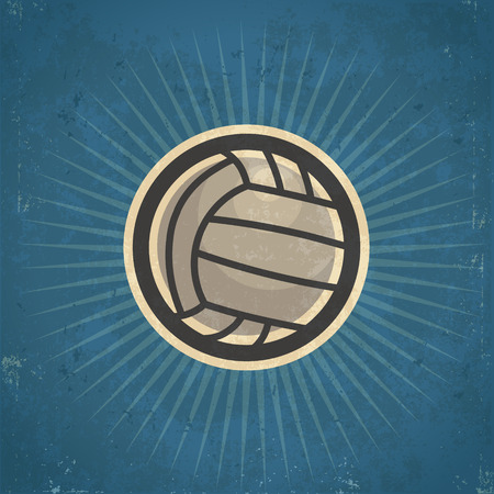pelota de voley: Retro ilustración de voleibol grunge