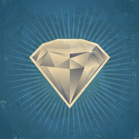 grunge: Retro grunge diamond illustration