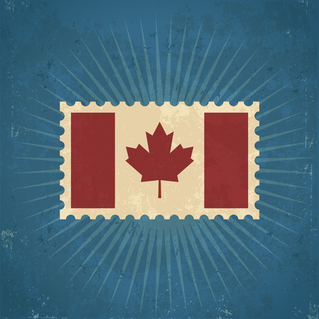 canada stamp: Retro Canada flag postage stamp illustration