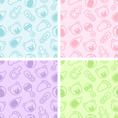 Set of seamless patterns with baby shower icons Illustration