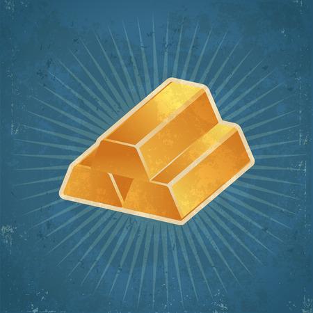 gold: Retro grunge gold bars illustration