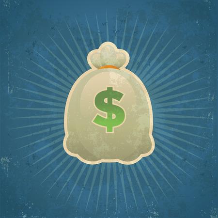 geld: Retro grunge illustratie van de zak met geld