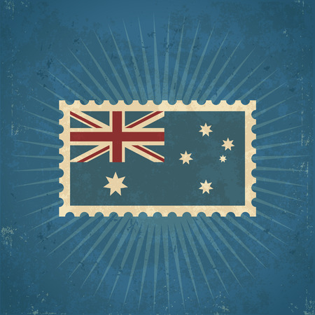 Retro grunge Australia flag postage stamp illustration