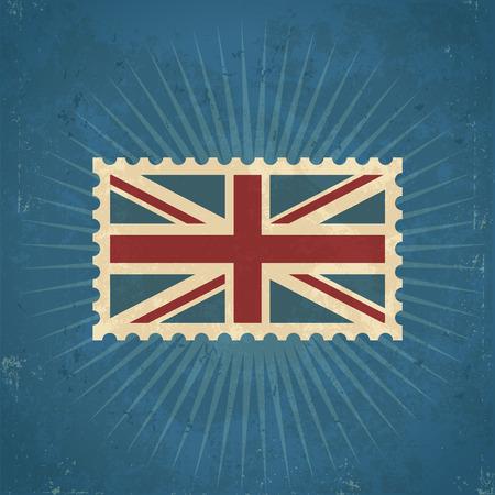 Retro grunge United Kingdom flag postage stamp illustration