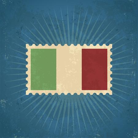 bandera italiana: Grunge Retro Italy flag sello postal ilustración Vectores