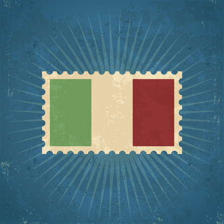 flag of italy: Retro grunge Italy flag postage stamp illustration
