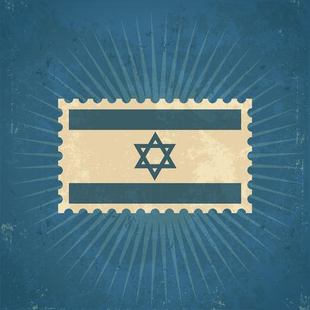 레트로 그런 지 이스라엘 국기 우표 그림 일러스트