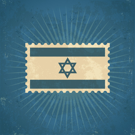 Retro grunge Israel flag postage stamp illustration