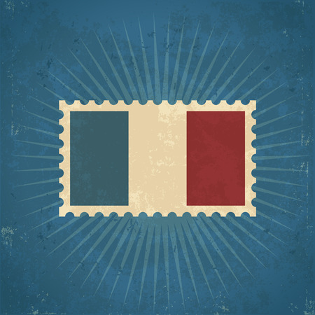 Retro grunge France flag postage stamp illustration Vector