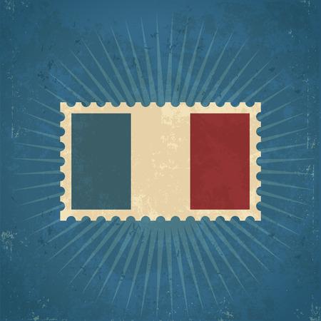 Retro grunge France flag postage stamp illustration