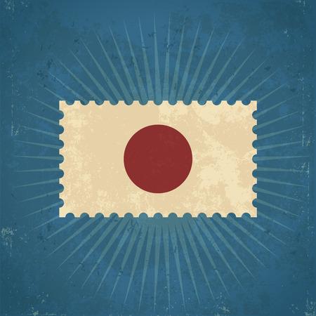 Retro grunge Japan flag postage stamp illustration Çizim