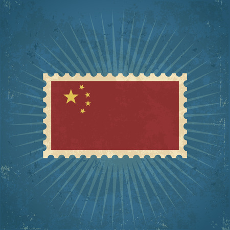 Retro grunge China flag postage stamp illustration