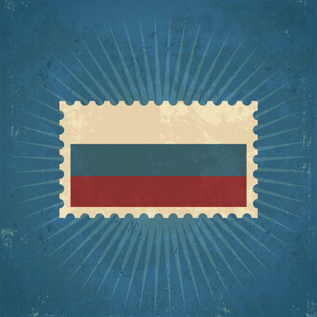 Retro grunge Russia flag postage stamp illustration