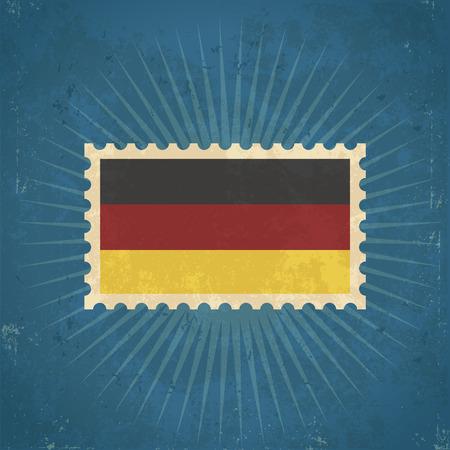 Retro grunge German flag postage stamp illustration
