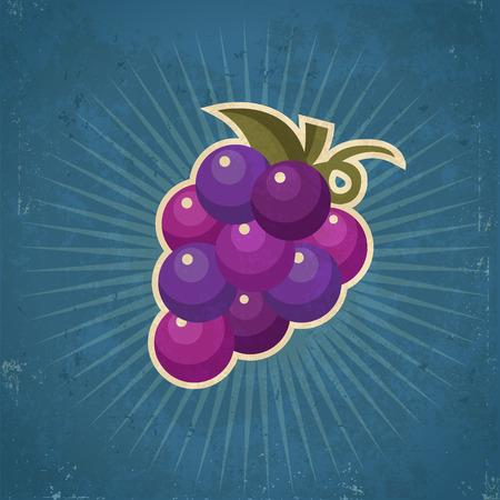 Retro grunge grape illustration