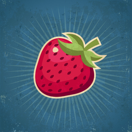grunge: Retro grunge strawberry illustration Illustration