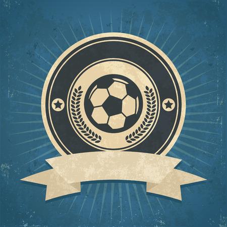 soccer: Retro grunge illustration of soccer ball emblem