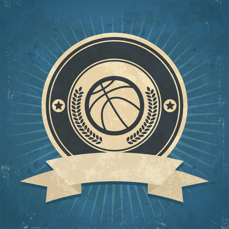 Retro grunge illustration of basketball emblem Vector