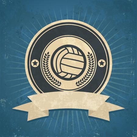 Retro grunge illustration of volleyball emblem Vector