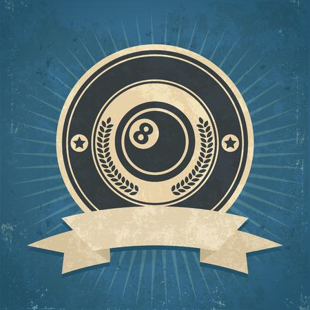 bola ocho: Ilustración de grunge retro de la bola ocho emblema