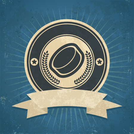 Retro grunge illustration of hockey puck emblem Vector