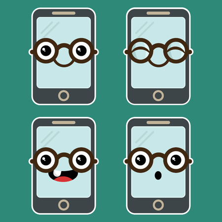 cellphone: Set of fun cartoon mobile phones with eyeglasses Illustration