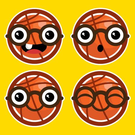 basketballs: Set of fun cartoon basketballs with eyeglasses