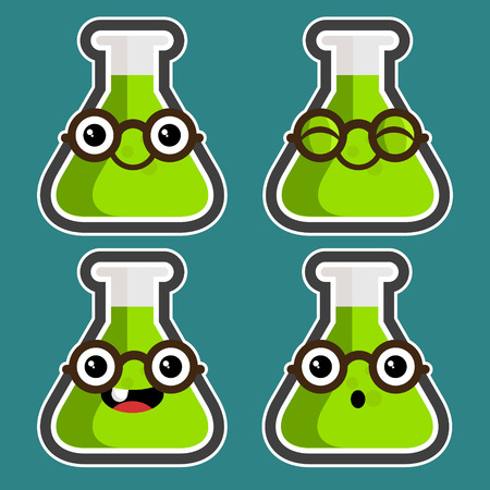 Set of fun cartoon Test Tubes with eyeglasses Vector